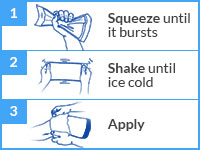 Ice pack. Squeeze Shake Apply